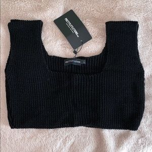Black Square Neck Knitted Top